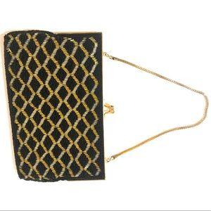 Vintage beaded handbag gold kiss clasp black beads